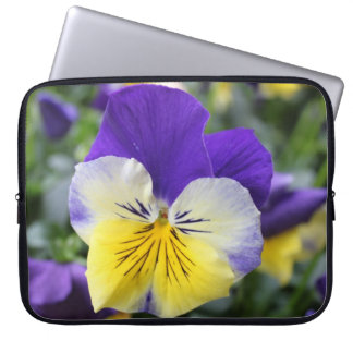 pretty blue and yellow pansy flower laptop sleeve