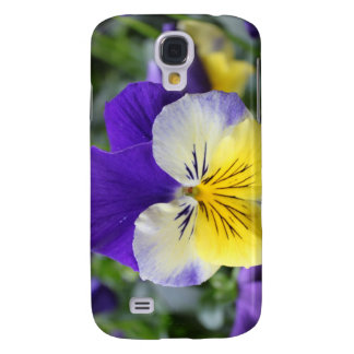 pretty blue and yellow pansy flower samsung s4 case