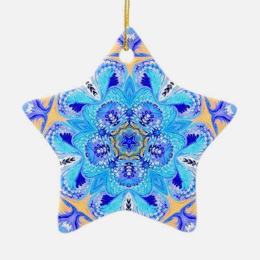 Pretty Blue and Yellow Star Ornament