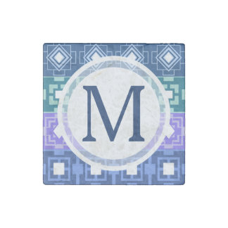 Pretty Blue Aztec Pattern Magnet Stone Magnet