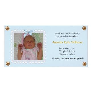 Pretty Blue Baby Announcement Photo Card