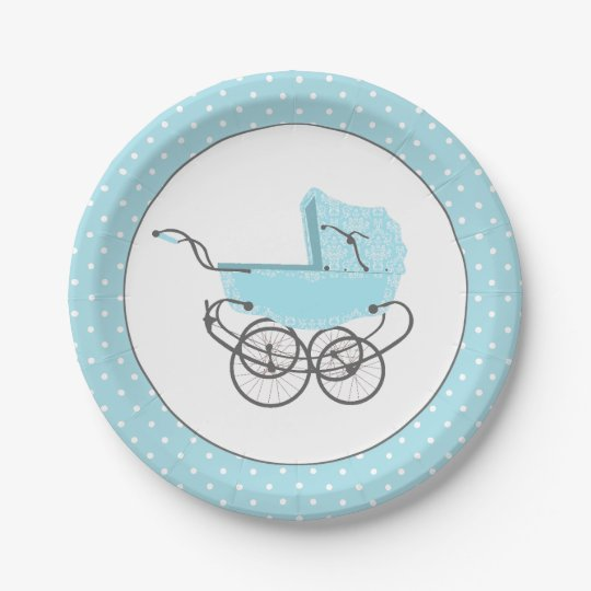 Pretty Blue Baby Buggy Baby Shower Paper Plate Zazzlecom