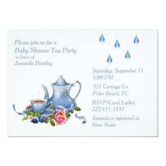 Pretty Blue Baby Shower Tea Party Invitation