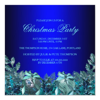 Pretty Blue Bauble & Bow Christmas Party Invite