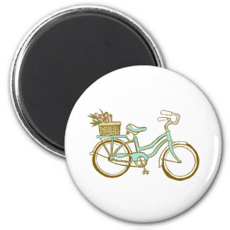 Pretty Blue Bicycle with Tulips 2 Inch Round Magnet