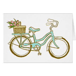Pretty Blue Bicycle with Tulips Card