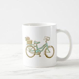 Pretty Blue Bicycle with Tulips Coffee Mug