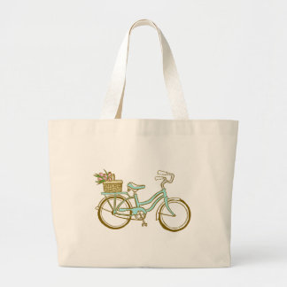 Pretty Blue Bicycle with Tulips Large Tote Bag