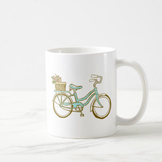 Pretty Blue Bicycle with Tulips Mug