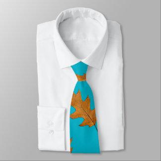 Pretty Blue Big Leaf Nature Print Tie
