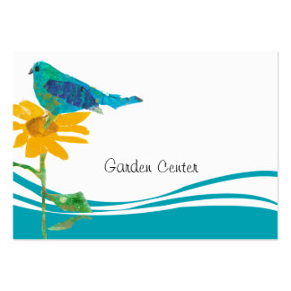 Pretty Blue Bird Sunflower Collage Watercolor Large Business Card