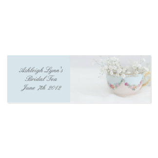 Pretty Blue Bridal Tea Favor Tag Business Card Pack Of Skinny Business Cards