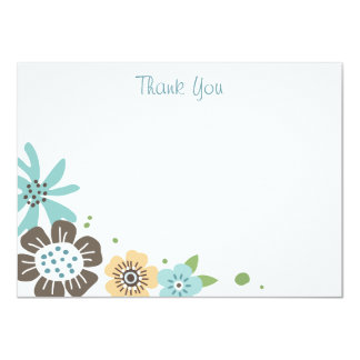 Pretty blue brown flowers flat thank you note card