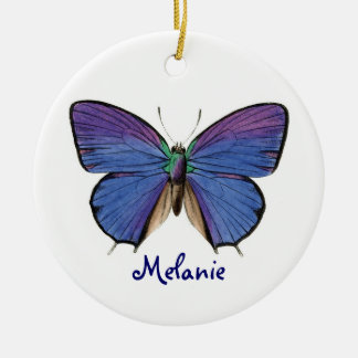 Pretty Blue Butterfly Ceramic Ornament