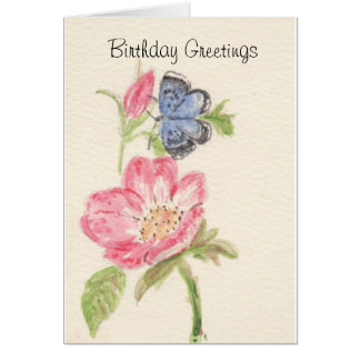 Pretty blue butterfly on pink flower card
