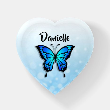 Pretty Blue Butterfly Personalized Paperweight