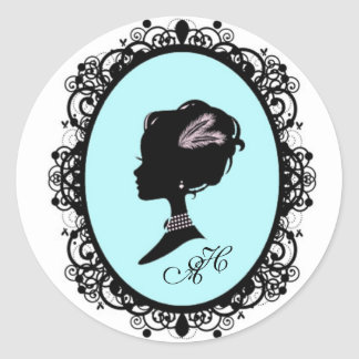 pretty blue cameo classic round sticker
