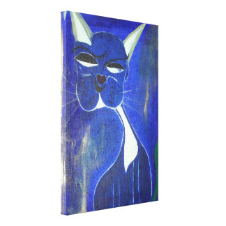 Pretty Blue Cat Gallery Wrapped Canvas