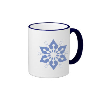 Pretty Blue Christmas Star Snowflake Coffee Mug