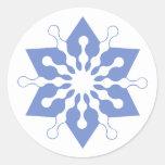 Pretty Blue Christmas Star Snowflake Classic Round Sticker