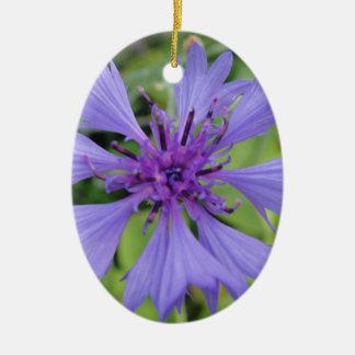 Pretty blue cornflower ceramic ornament