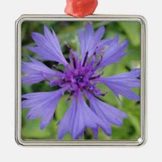 Pretty blue cornflower metal ornament