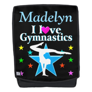 PRETTY BLUE CUSTOMIZED I LOVE GYMNASTICS BACK PACK