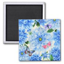 Pretty Blue Dahlia Flowers and Butterflies Floral Magnet