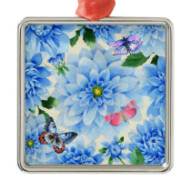Pretty Blue Dahlia Flowers and Butterflies Floral Metal Ornament