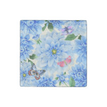 Pretty Blue Dahlia Flowers and Butterflies Floral Stone Magnet