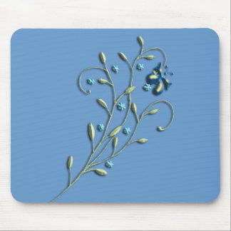 Pretty Blue Daisy & Butterfly Doodle Mouse Pad