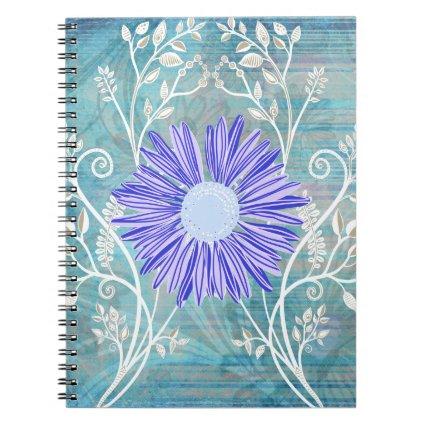 Pretty Blue Daisy Flower Pattern Gifts Spiral Notebook