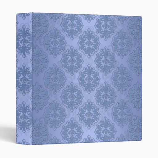 Pretty Blue Damask Vinyl Binders