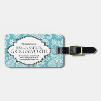 Pretty Blue Damask Girly Personalized Tags For Bags