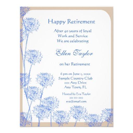 Pretty Blue Dandelion Retirement Party Invitation
