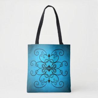Pretty blue design tote bag