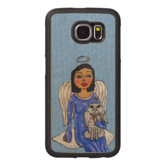 Pretty Blue eyed Angel on a Cloud With White Cat Wood Phone Case