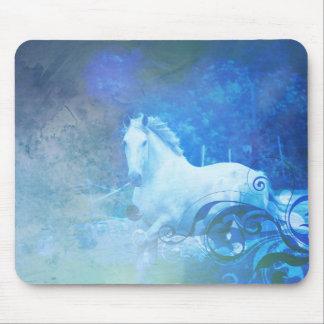 Pretty Blue Fantasy Horse Design Mouse Pad