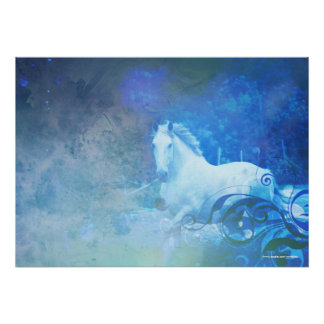 Pretty Blue Fantasy Horse Poster