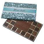 Pretty Blue Faux Glitter and Diamonds 45 Piece Box Of Chocolates