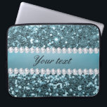 """Pretty Blue Faux Glitter and Diamonds Laptop Sleeve<br><div class=""""desc"""">Glamorous personalized large blue faux glitter sequins and diamonds. PLEASE NOTE: These are flat printed graphics - no real glitter, jewels or raised parts. Click on the Customize it / Personalize it button to personalize with your text. If you need any assistance customizing your product please contact me through my...</div>"""
