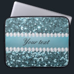 "Pretty Blue Faux Glitter and Diamonds Laptop Sleeve<br><div class=""desc"">Glamorous personalized large blue faux glitter sequins and diamonds. PLEASE NOTE: These are flat printed graphics - no real glitter, jewels or raised parts. Click on the Customize it / Personalize it button to personalize with your text. If you need any assistance customizing your product please contact me through my...</div>"