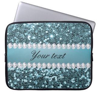 Pretty Blue Faux Glitter and Diamonds Laptop Sleeve