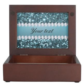 Pretty Blue Faux Glitter and Diamonds Memory Box
