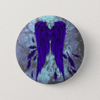 Pretty Blue Feathers Angel Wings Grunge Design Button