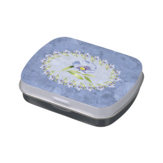 Pretty Blue Flax Flowered Candy Tins