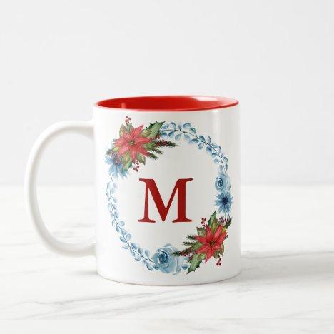 Pretty Blue Floral Christmas Wreath Monogram Two-Tone Coffee Mug