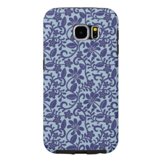 Pretty Blue Floral Damask Pattern Samsung Galaxy S6 Cases