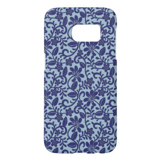 Pretty Blue Floral Damask Pattern Samsung Galaxy S7 Case