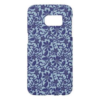 Pretty Blue Floral Damask Pattern Samsung Galaxy S7 Case